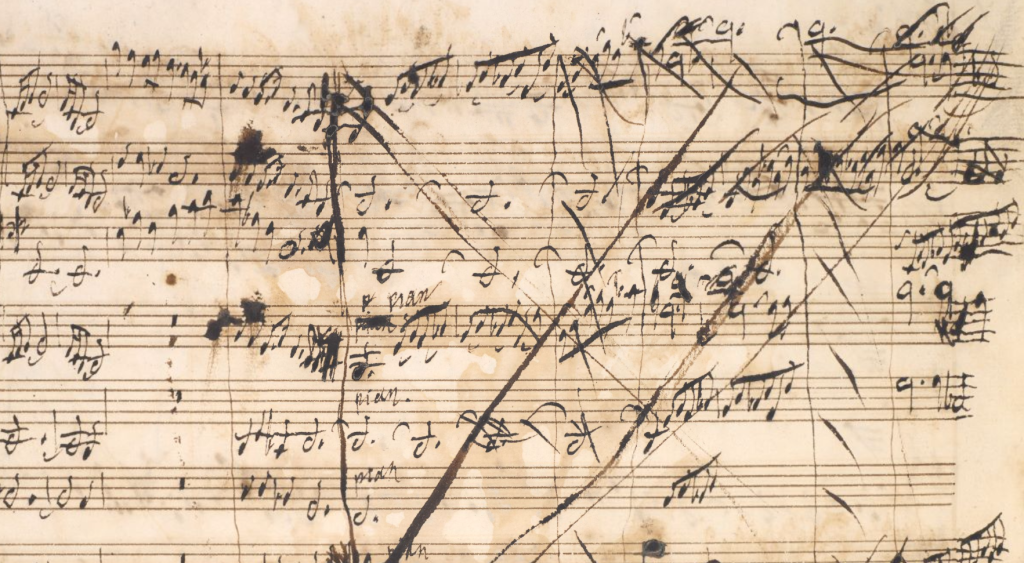 Scored-out section in autograph manuscript